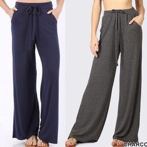 1ca59ac37d888 Pants - Plus size lounge pants trousers wide leg Black